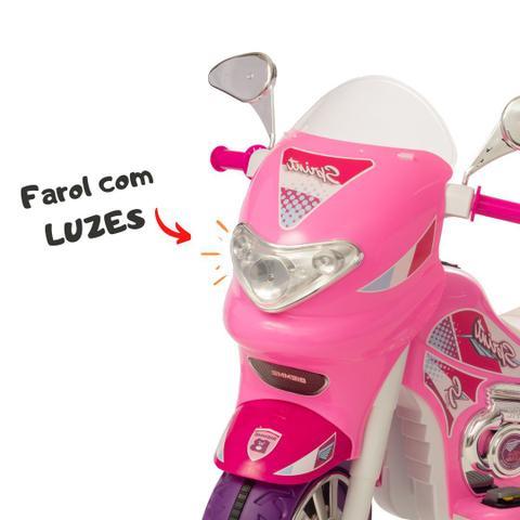 Imagem de Moto eletrica infantil fashion sprint turbo pink com capacete e baú