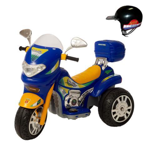 Imagem de Moto eletrica infantil meninos radical sprint turbo azulcom bau e capacete