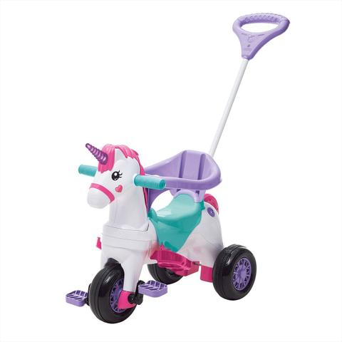 Imagem de Motoca Triciclo Infantil Calesita Fantasy C/ Empurrador Rosa/Branca