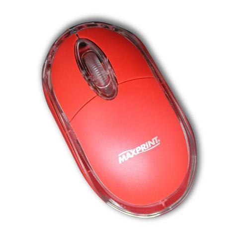 Mouse Usb Óptico Led 1000 Dpis Colors Vermelho 6012015 Maxprint