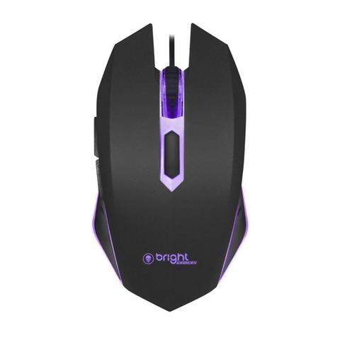 Mouse Usb Óptico Led 2400 Dpis Gamer Led Azul 0472 Bright