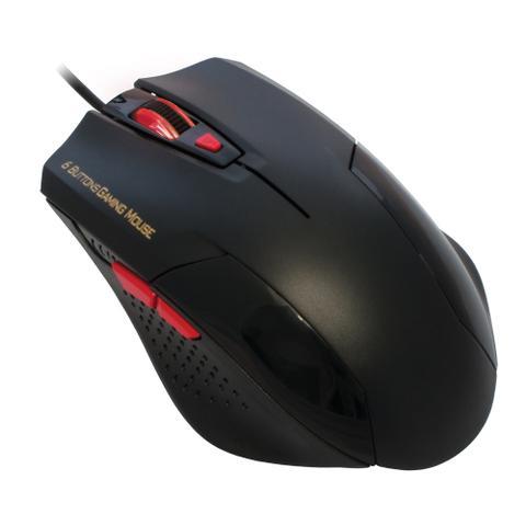 Mouse Usb Óptico Led 1600 Dpis Gamer Preto e Vermelho Mo-y135 K-mex