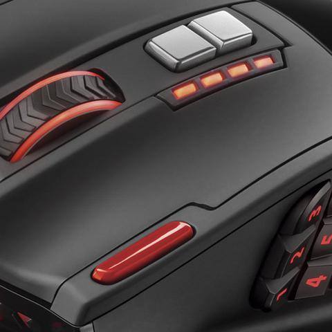 Imagem de Mouse Gamer Multilaser Laser 4000DPI USB 18 botões Preto/Vermelho MO206