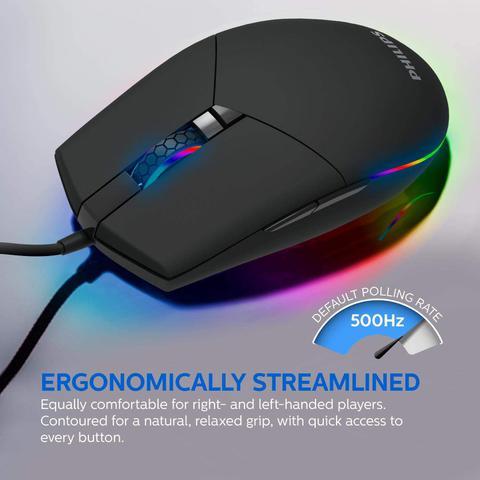 Mouse Usb Óptico Led 6400 Dpis Gamer 9304 Philips