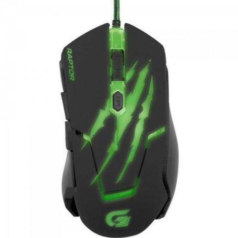 Mouse Usb Óptico Led 2400 Dpis Raptor Verde Om-801 Fortrek