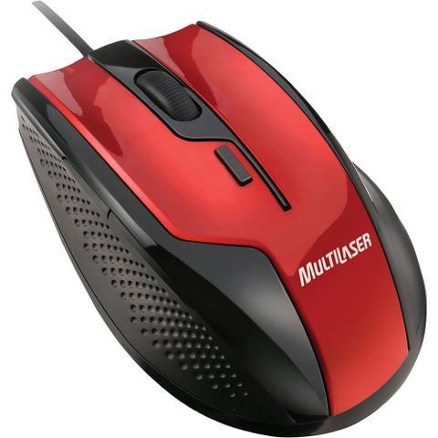 Mouse Usb Óptico Led 1600 Dpis Gamer Fire Preto e Vermelho Mo149 Multilaser