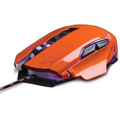 Mouse Usb Óptico Led 3200 Dpis Gamer Warrior Laranja Mo263 Multilaser