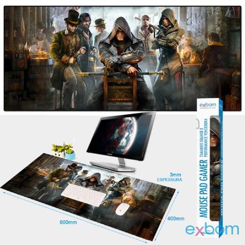 Imagem de Mouse Pad Gamer Extra Grande 90x40cm Antiderrapante Bordas Costuradas Tema Games 10 - Exbom MP-9040A