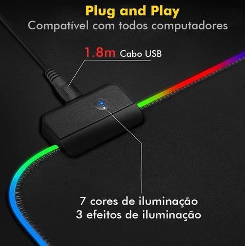 Imagem de Mousepad Gamer Led Grande 90 X 40 Iluminado Rgb Efeitos