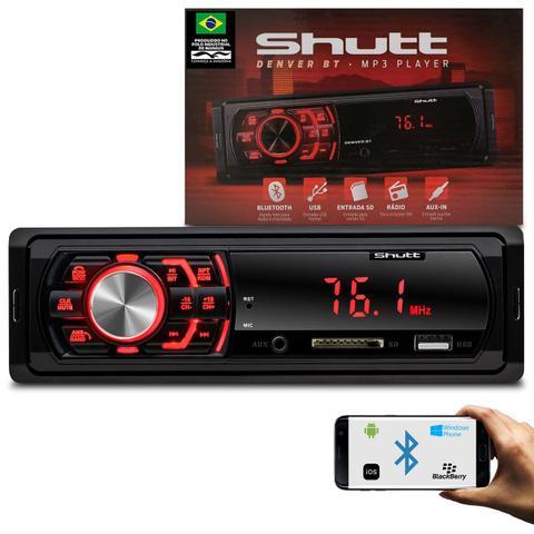 Imagem de MP3 Player Automotivo 1 Din Bluetooth USB SD Auxiliar P2 Rádio FM Audio Streaming Shutt Denver BT
