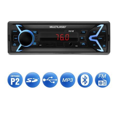 Imagem de MP3 Player Automotivo Bluetooth 4X 25W Pop BT Multilaser 1 Din USB Micro SD P2 Rádio FM RCA - P3336