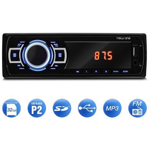 Imagem de MP3 Player Automotivo Multilaser New One P3318 1 Din Led USB SD Auxiliar P2 Rádio FM + Pen Drive 8GB