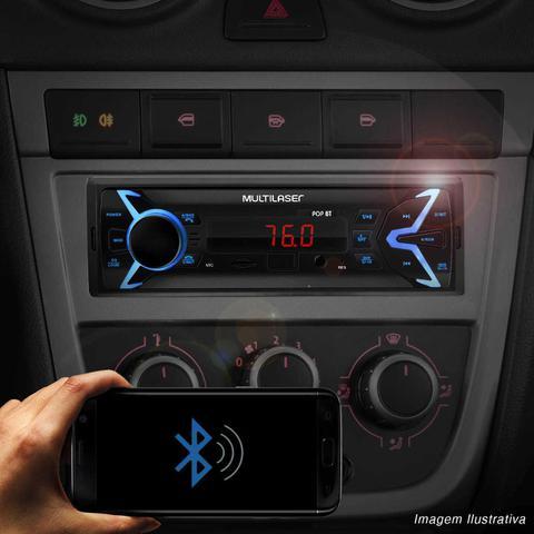 Imagem de MP3 Player Automotivo Multilaser Pop BT P3336 1 Din Bluetooth LED USB SD AUX P2 FM + Pen Drive 8GB