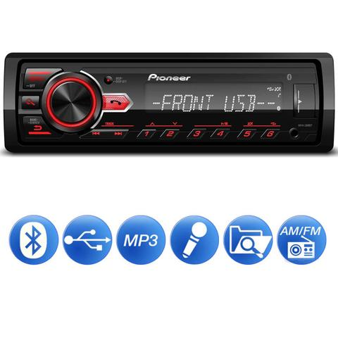 Imagem de MP3 Player Automotivo Pioneer MVH-298BT 1 Din Bluetooth USB AUX RCA AM FM Interface Smartphone