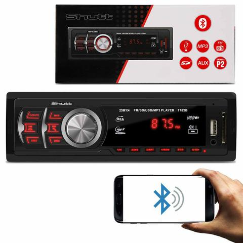 Imagem de MP3 Player Automotivo Shutt Montana 1 Din 3.5 Polegadas Bluetooth USB SD Aux P2 FM 1782B