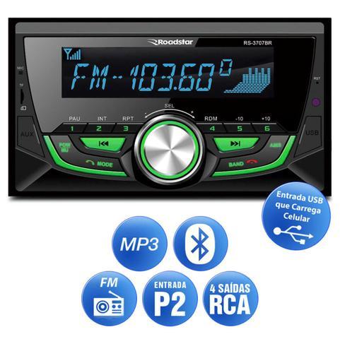 Imagem de MP3 Player Roadstar 2 Din Bluetooth USB SD Auxiliar P2 Rádio FM Controle 7 Cores Carrega Celular