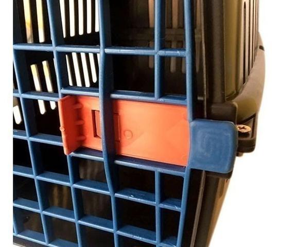 Imagem de N2 Caixa De Transporte Cachorro Gatos Preta Porta Azul