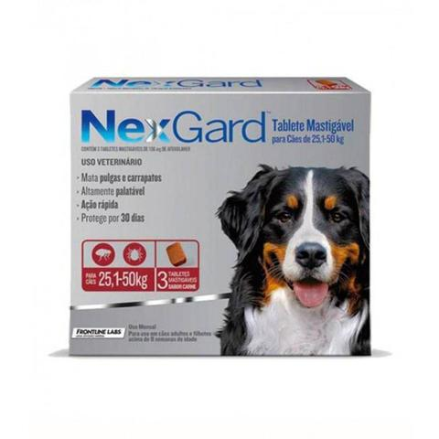 Imagem de NexGard 136 mg de 25,1 a 50 Kg cx com 3