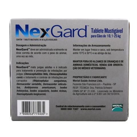 Imagem de Nexgard G Cães 10,1 a 25kg Antipulgas e Carrapatos Merial - Descrição marketplace