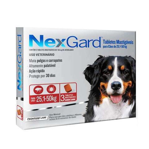 Imagem de Nexgard GG Cães 25,1 a 50kg 3 tabletes Antipulgas e Carrapatos Merial - Descrição marketplace