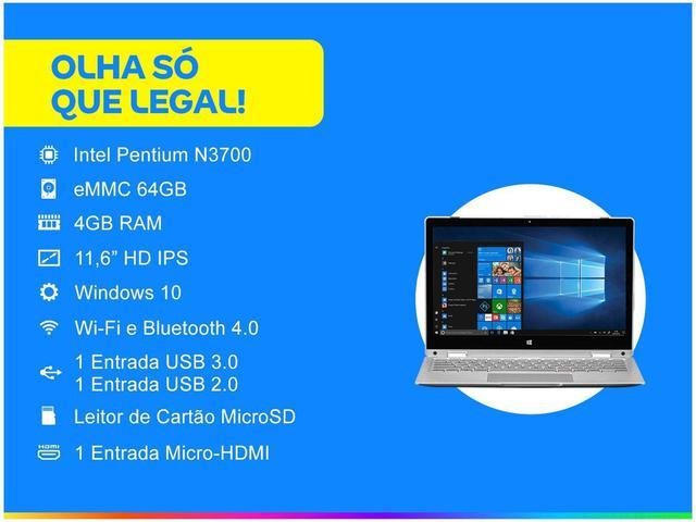 "Imagem de Notebook 2 em 1 Multilaser M11W Prime PC301 Intel - Pentium 4GB 64GB SSD Touch Screen 11,6"""