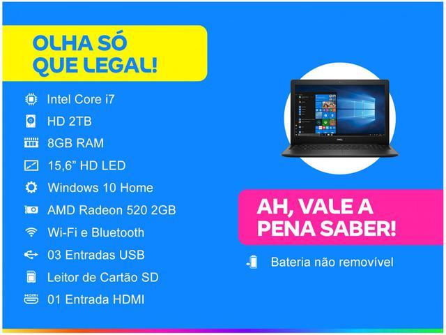 """Imagem de Notebook Dell Inspiron Intel Core i7 8GB 2TB 15,6"""""""