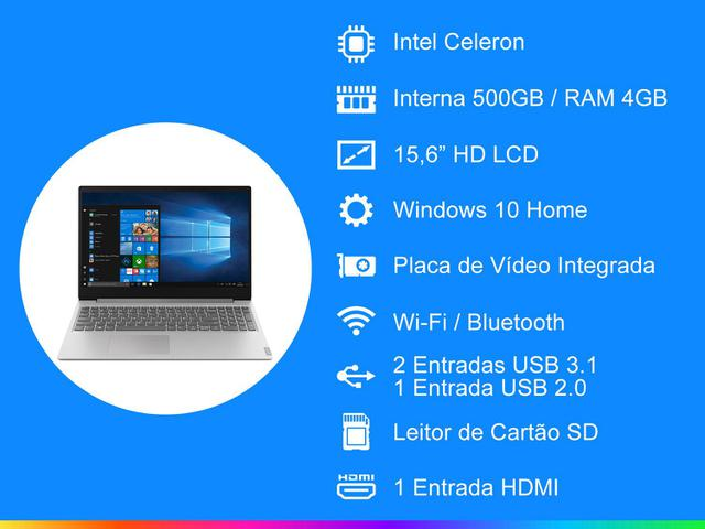 Imagem de Notebook Lenovo Ideapad S145 Intel Dual Core
