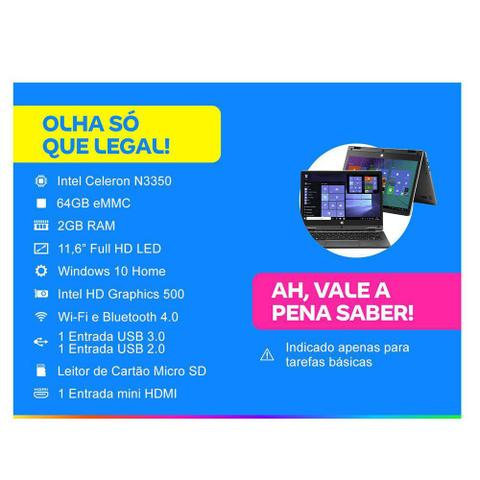 Imagem de Notebook Multilaser 2 em 1 M11W Plus Intel Celeron 2GB 64GB 11.6 Pol. Touch Screen Full HD Windows 10 Cinza - PC112