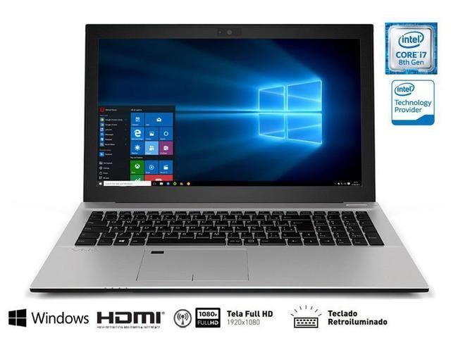 "Notebook - Vaio Vjf157b0511s I7-8550u 1.80ghz 8gb 1tb Padrão Intel Hd Graphics 620 Windows 10 Home Fit 15s 15,6"" Polegadas"