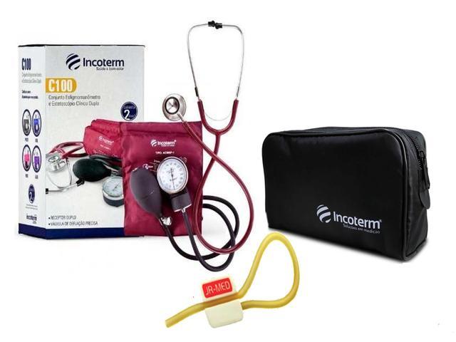 Imagem de Novo Kit Aparelho de Pressão com Estetoscópio Clinico Duplo Vinho Incoterm + Bolsa JRMED