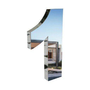 Imagem de Número 1 de Aço Inox 3d Caixa Alta Polido Brilhante Espelhado 20 cm - Número de casa