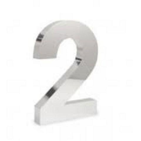 Imagem de Número 2 de Aço Inox 3d Caixa Alta Polido Brilhante Espelhado 15 cm - Número de casa