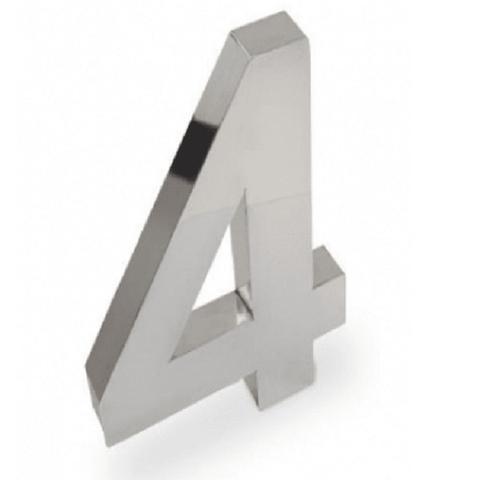 Imagem de Número 4 de Aço Inox 3d Caixa Alta Polido Brilhante Espelhado 15 cm - Número de casa