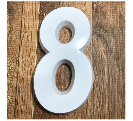 Imagem de Número Residencial 8 Branco 3d 14cm De Altura