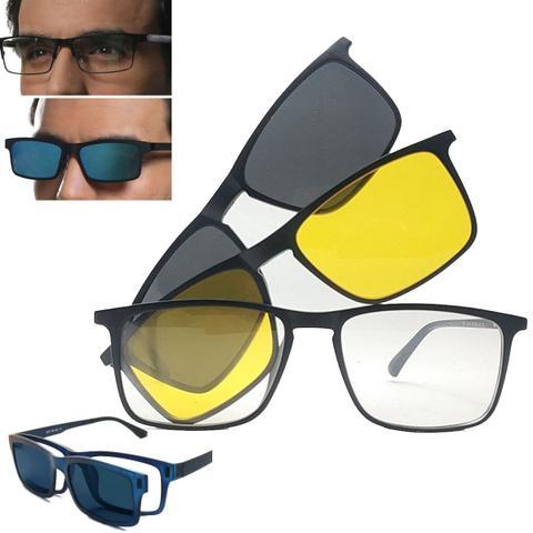 Imagem de Óculos 3 Em 1 Grau Sol e Noite Clip On Polarizado E Uv400