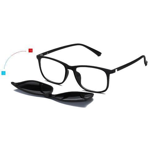Imagem de Oculos Armação Grau e Sol 5 Lentes Clip on Quadrado Preto Feminino