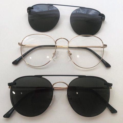 Imagem de Óculos Clipon Sol Armação Feminino Grau Retrô Redondo Bubu