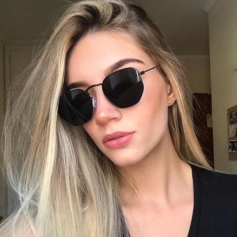 Imagem de Óculos de Sol Hexagonal Unissex Preto Retro Masculino Feminino