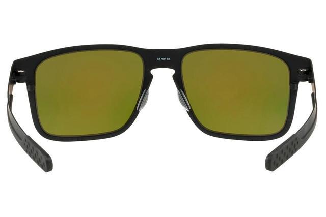542b7677dad48 Imagem de Óculos de Sol Oakley Holbrook Metal 0OO4123 12 55 Preto Fosco  Lente Laranja