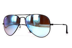 Imagem de Óculos de Sol Ray Ban Aviador RB3025 Preto Lente Azul Degradê  Espelhada Tam 58 d66758aaed