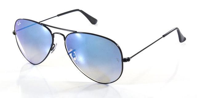 f40538d945f90 Imagem de Óculos de Sol Ray Ban Aviador RB3025 Preto Lente Azul Degradê  Espelhada Tam 58