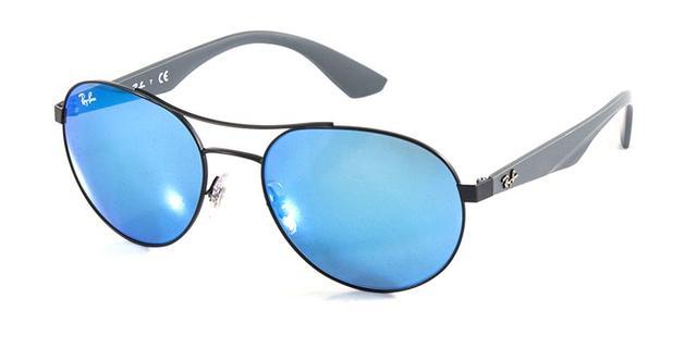 d853ee557726d Imagem de Óculos de Sol Ray Ban Aviador RB3536 Preto Fosco Lente Azul  Espelhada