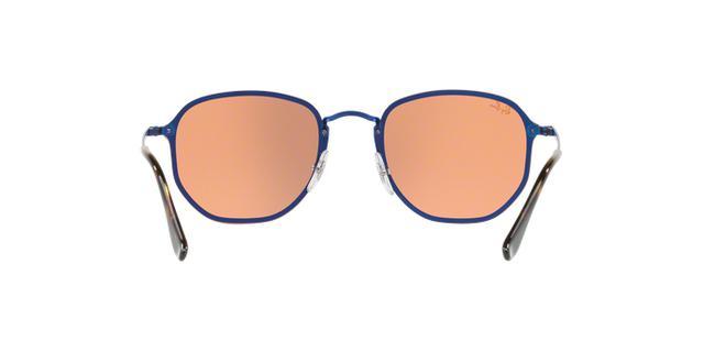 2ecae928a3341 Imagem de Óculos De Sol Ray Ban Hexagonal Blaze RB3579 Azul Lente Espelhada  Laranja Ouro