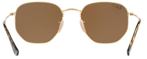 771f129a96c6e Imagem de Óculos de Sol Ray Ban Hexagonal Metal RB3548 Ouro Lente Marrom  Flat Polarizada 54
