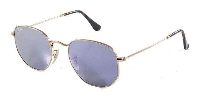 aadeec56d4049 Imagem de Óculos de Sol Ray Ban Hexagonal Metal RB3548 Ouro Lente Roxa Flat  Tam 51