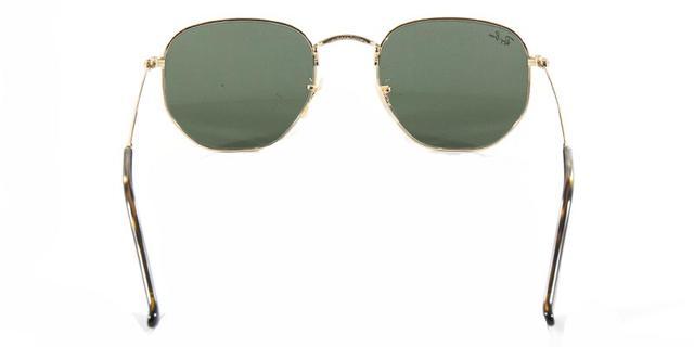 dc23025a795f7 Imagem de Óculos de Sol Ray Ban Hexagonal Metal RB3548 Ouro Lente Verde G15  Flat Tam