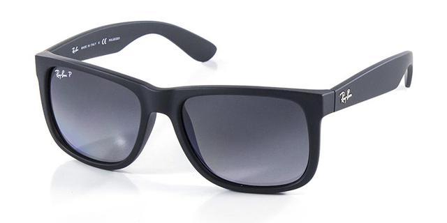 26059355436b4 Imagem de Óculos de Sol Ray Ban Justin RB4165 Preto Fosco Lentes  Polarizadas Tam 54