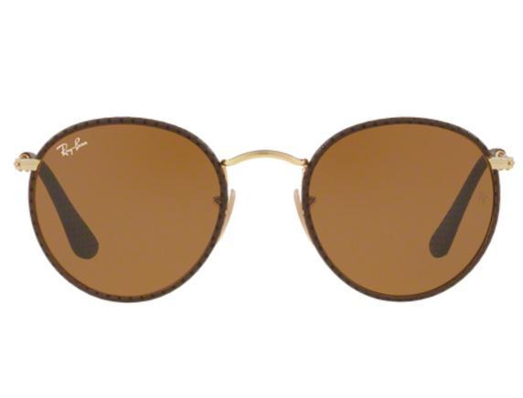 4873d56279302 Imagem de Óculos de Sol Ray Ban Round Craft RB3475Q 9041 Marrom Couro Lente  Marrom Tam