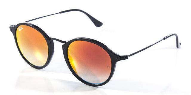 564fc4920318a Imagem de Óculos de Sol Ray Ban Round Fleck RB2447 Preto Lente Vermelha  Espelhada