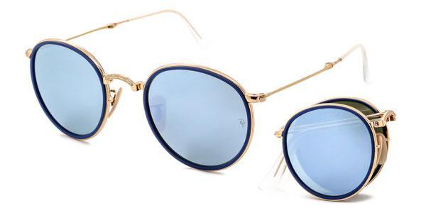 2cebd50e0c71c Imagem de Óculos de Sol Ray Ban Round Folding RB3517 00130 Ouro Lente Prata  Espelhada